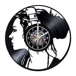 Girl Music Design Wall Clock Made From Used Vinyl Record - G