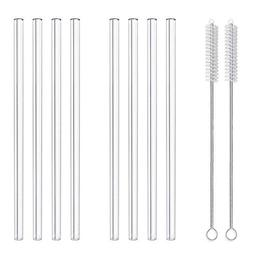 """Glass Smoothie Straws, 10"""" x 10 mm Long Reusable Clear Drink"""