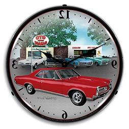 """Collectable Sign and Clock GMRE710144 14"""" 1967 Pontiac GTO L"""