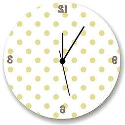 Gold Polka Dot WALL CLOCK for Girls Bedroom Baby Nursery Dec
