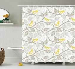 Ambesonne Grey Decor Collection, Birds on the Branch with Pa