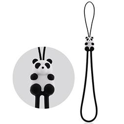Cute Cartoon Phone Charm Hand Wrist Strap, Silicone Elastic