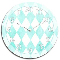 Harlequin Turquoise Wall Clock, Available in 8 sizes, Most S