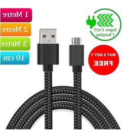 Heavyduty Braided Extra Long Fast Charge Micro USB Data Sync