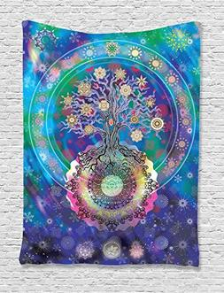 Ambesonne Home Decor Collection, Tree of Life with Floral St