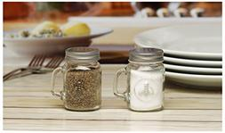 Circleware Honey Bee Mason Jar Mug Glass Salt and Pepper Sha