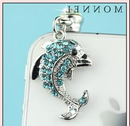 ip70 Cute Crystal Sea Animal Dolphin Cell Phone Charm Dust P