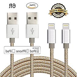 iPhone Cable, iPhone 7 Charger, ADABUNNY 2Pack 6ft Nylon Bra