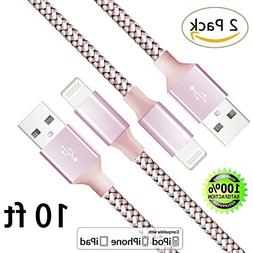 iPhone Cable,Lightning to USB Cable 2Pack 10FT Nylon Braided