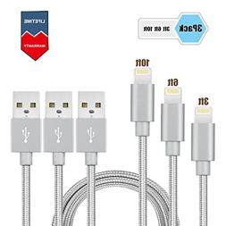 iPhone Cable charger-3 Pack  Elktry High Speed Braided Charg