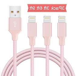 Lightning Cable, Areker 3ft 6ft 9ft 3 Pack for iPhone Charge