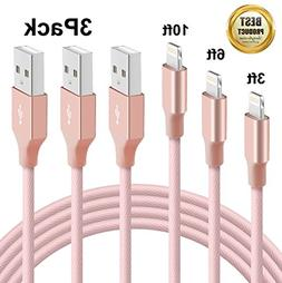 Novtech iPhone Charger, 3 Pack 3FT 6FT 9FT Braided iPhone iP