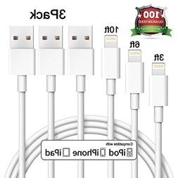 Eashion iPhone Charger 3Pack 3FT 6FT 10FT 8pin Lightning to