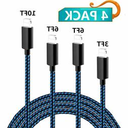 iPhone Charger, Mfi Certified Cable, 4 Pack Extra Long Nylon