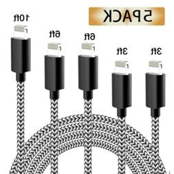 iPhone Charger MFi Certified Cable 5 Pack Extra Long Nylon B