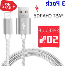iPhone X 8 7 Plus Charger Extra Long High Speed Nylon Braide