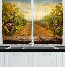 Ambesonne Kitchen Decor Collection, Vineyard Grapes Natural