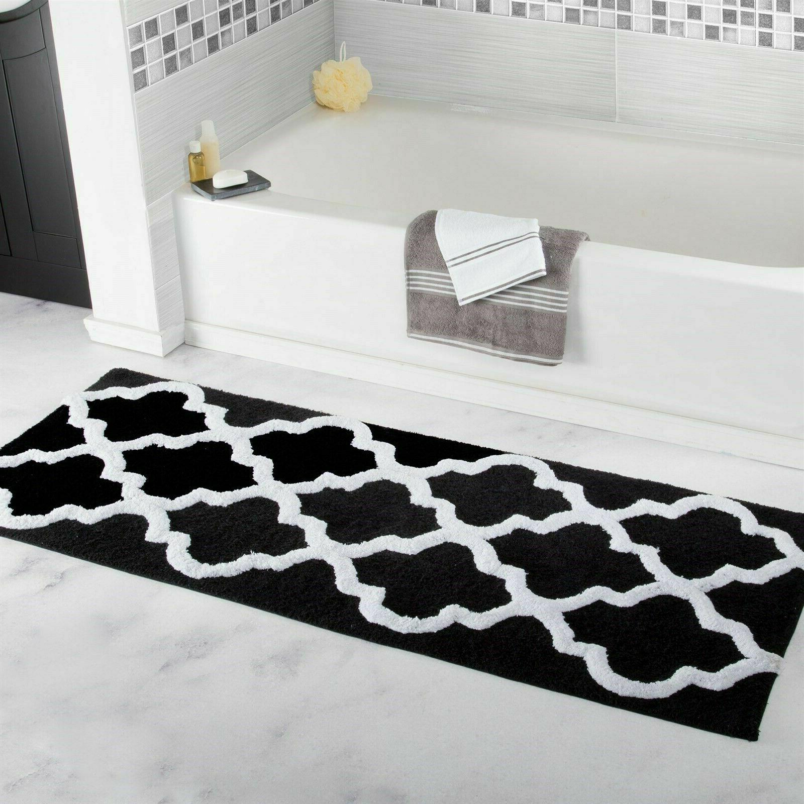100% Cotton Extra Long Plush Trellis Lattice Pattern Bath Ma