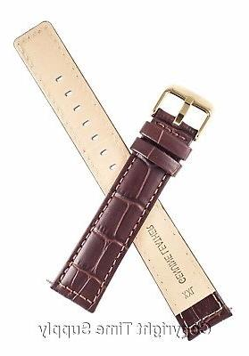 22 mm BROWN LEATHER WATCH BAND CROCO LONG