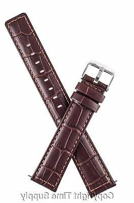 22 mm brown leather watch band croco