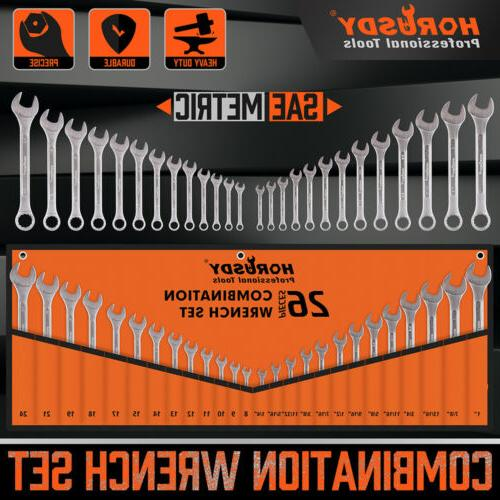 30pc duo metric sae combination spanner set