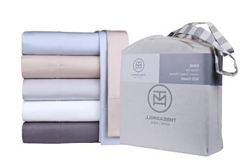 400 Thread Count 100% Extra-Long Staple Cotton Set, King Sheets, Bedding, King Sheets Piece Weave,White, Threadmill Linen