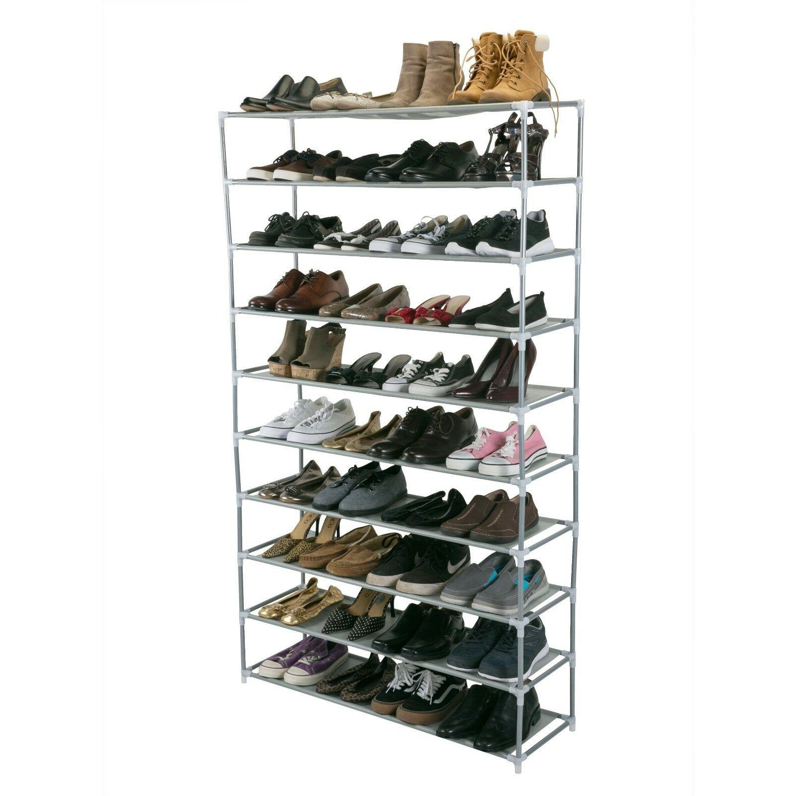 50 Pair Extra Long Shoe Rack METAL STURDY - 10 Tiers Simplif