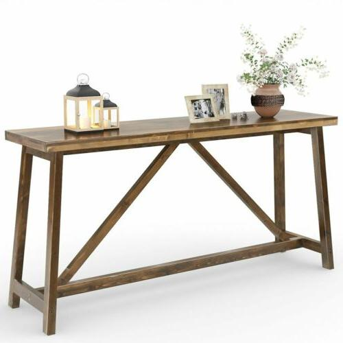 """Tribesigns 59"""" Extra Long Rustic Console Table, Solid Wood S"""