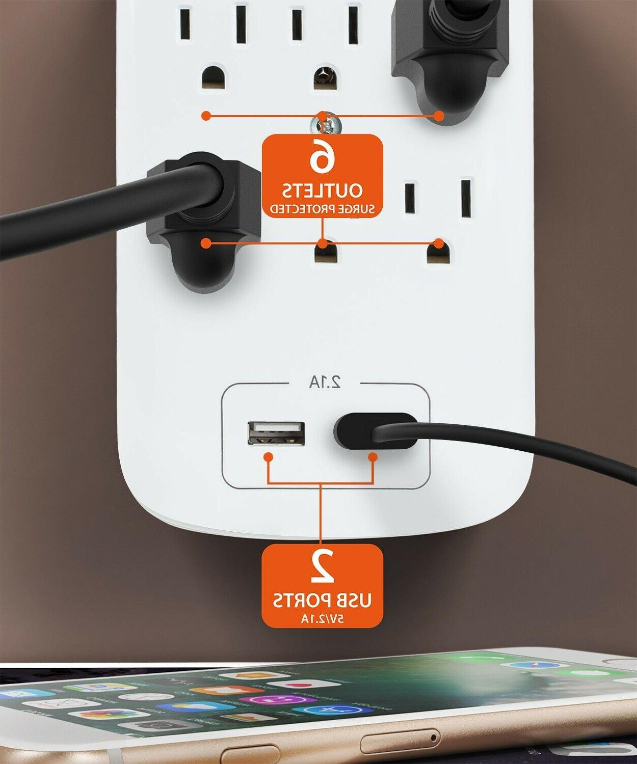 6 Outlet Surge With Ports Wall Tap