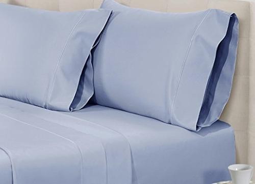 Chateau Thread Count Cotton Set Queen-Sheets, 4-Piece Long-staple Combed Best-Bedding Deep &