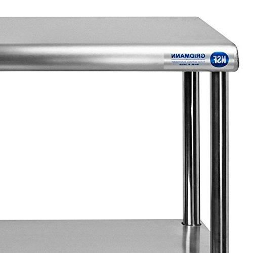 GRIDMANN NSF Stainless Steel Commercial Overshelf x for Kitchen Work Table