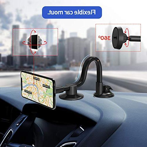 IPOW Truck Holder,Long Arm Windshield Base Compatible iPhone X XS Max 8 7 6 5S, Galaxy S9+ S8 S7 Huawei