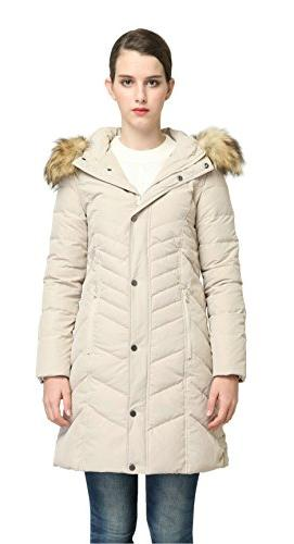Orolay Women's Thickened Mid-Long Down Jacket With Hood Beig