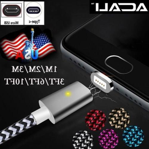 US 3/6/10FT Magnetic Android Charger Type C USB-C Micro USB