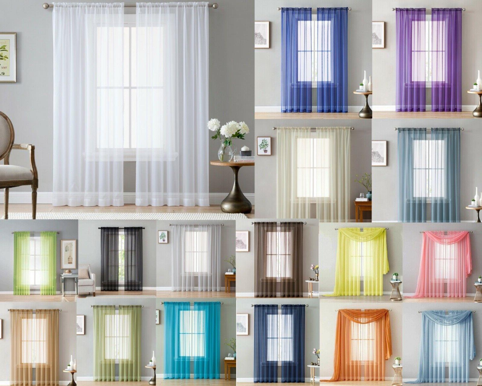 addison sheer voile window curtain solid panels