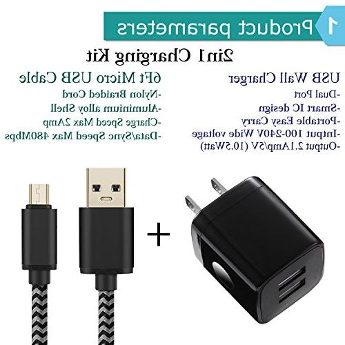 Android Power-7 USB 6FT with Plug kit Compatible S7/S6 G4 G3, Tablets