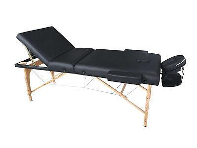 Exacme Long 4 Black Three Section PU Portable Massage Table