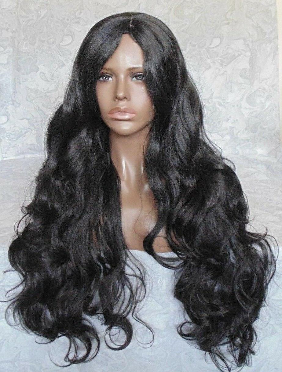 Extra Long Black/Brown Thick Layered Waves, Center Skin Part