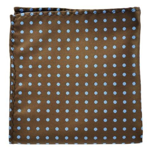 Extra Long Brown Blue Polka Dots Tie