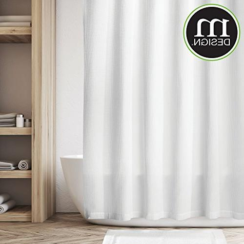 "mDesign Extra Long Premium 100% Cotton Fabric Curtain, Hotel Quality - for Showers Soft, Easy Care 72"" - White"
