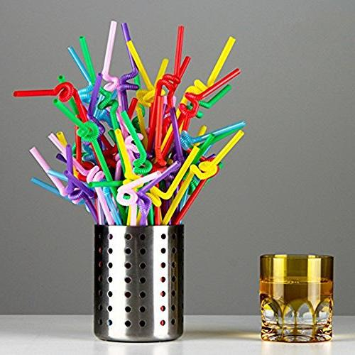 B&S 500 Extra Long Bendable Plastic Straws, Assorted Color
