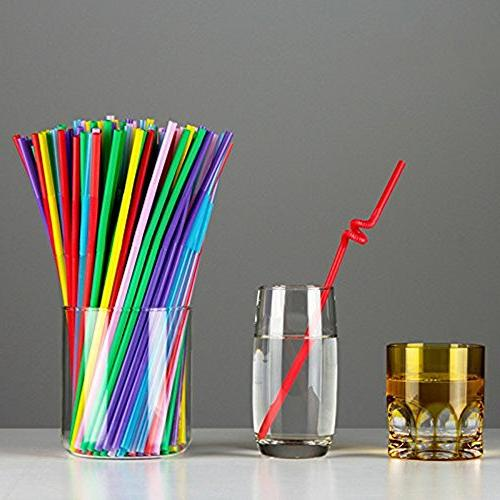B&S FEEL 500 Pack Plastic Drinking Straws, Color