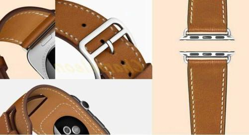 Extra Long Double Tour Genuine Leather apple Watch Band F iWatch Series32