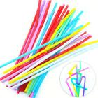 100Pcs Extra Long Flexible Plastic Drinking Straws Party Bar