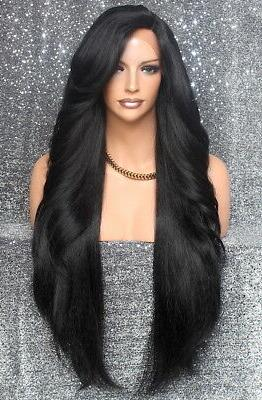 Extra Long Human Hair blend Heat OK Full Lace Front Wig Brow
