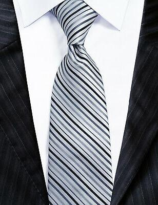 extra long microfibre necktie black silver striped