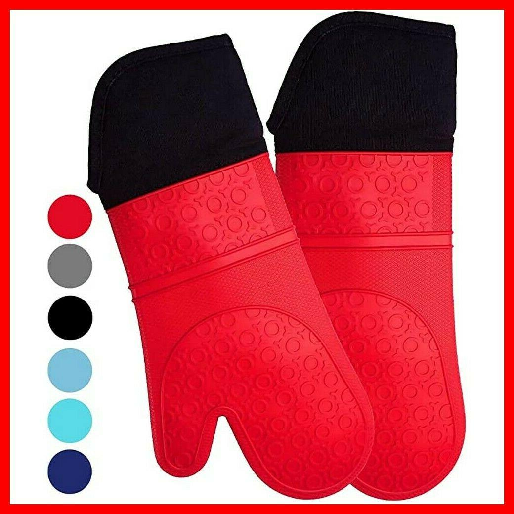 extra long professional silicone oven mitt oven