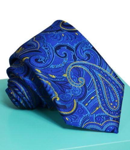 Extra Long Royal and Yellow Paisley Men's Tie