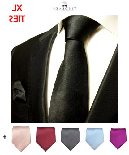 extra long solid necktie and pocket square