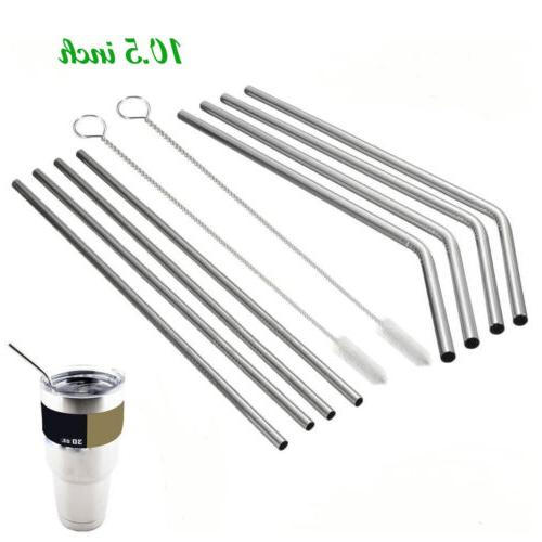 "10pcs 10.5"" Extra Long Stainless Steel Drinking Straws Brush"